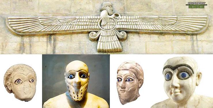 Estatuas sumerias con ojos azules