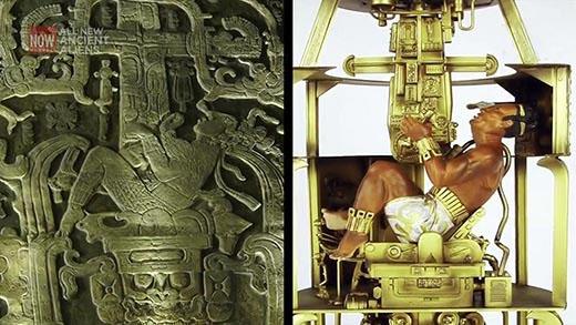 Comparación del grabado con una ilustración de un astronauta moderno