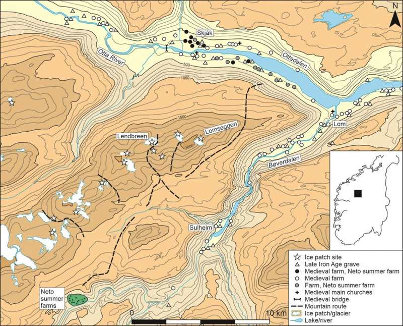 Mapa de las rutas antiguas en el glaciar de Lendbreen