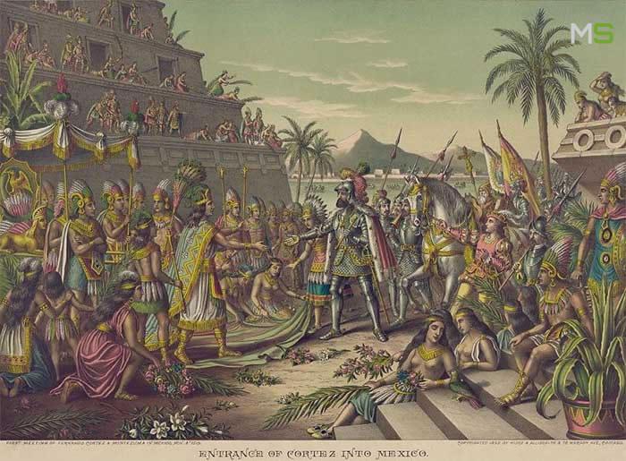 Encuentro de Hernán Cortés y Moctezuma II