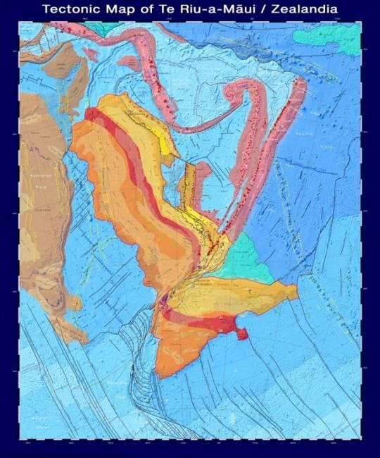 Mapa tectónico Zealandia