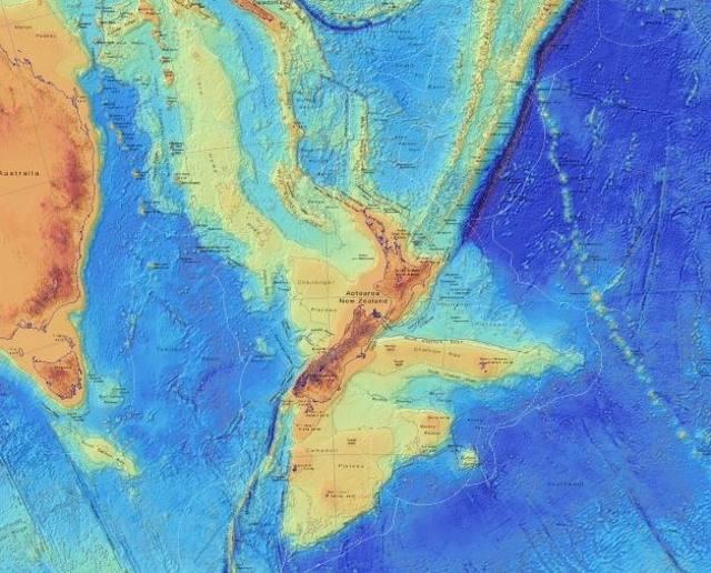 Mapa batimétrico Zealandia