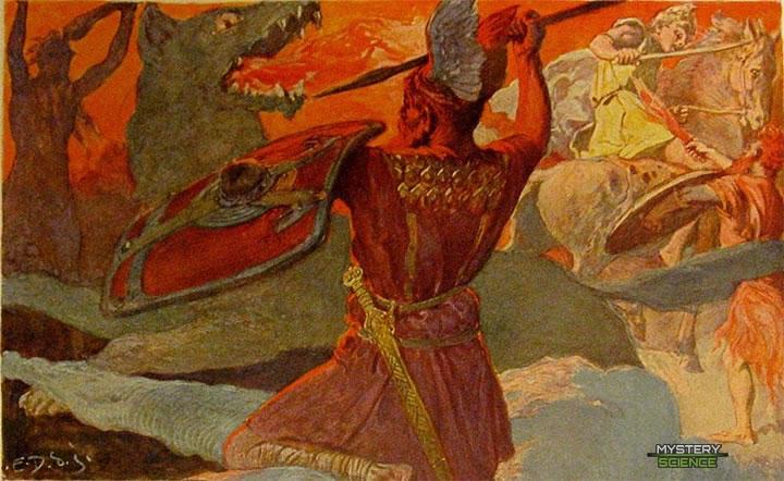Ragnarök, batalla final entre Odín, Fenrir, Freyr y Surtr