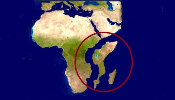 Mapa de África al separarse África Oriental