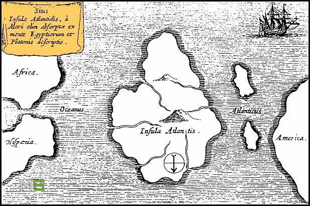 Mapa de la Atlántida en el océano Atlántico