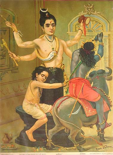 Shiva defiende a su devoto Markandeya de Yama