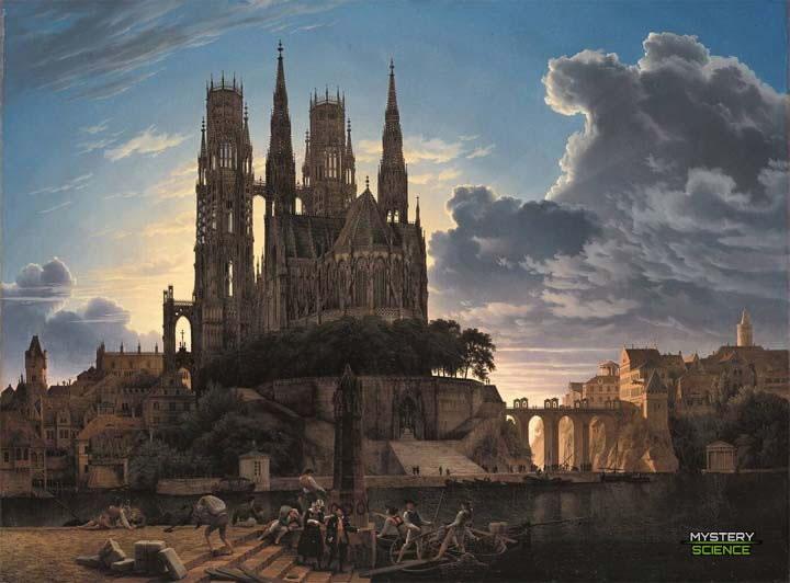 Pueblo medieval cerca del agua, pintura de Karl Eduard Biermann