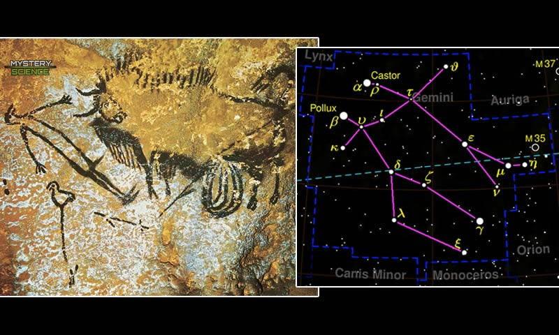 Pintura del Hombre Pájaro y Constelación de Géminis cuevas Lascaux