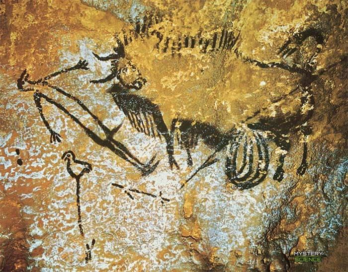 Pintura del Hombre Pájaro cuevas Lascaux