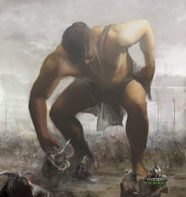 batalla contra un gigante tipo Nefilim
