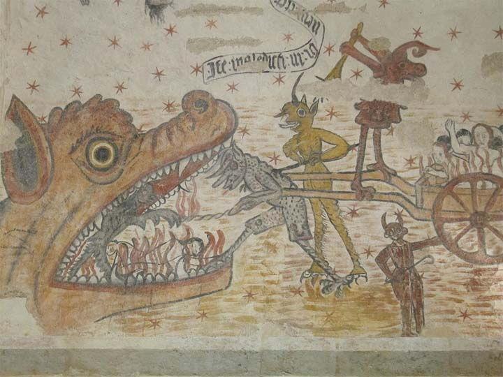 La boca del infierno en un fresco del siglo 16, iglesia Saint-Médard, Francia.