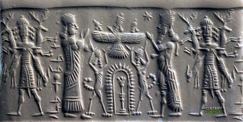 Sello cilíndrico de Asiria con adoradores humanos, un Anunnaki volador y otros dioses