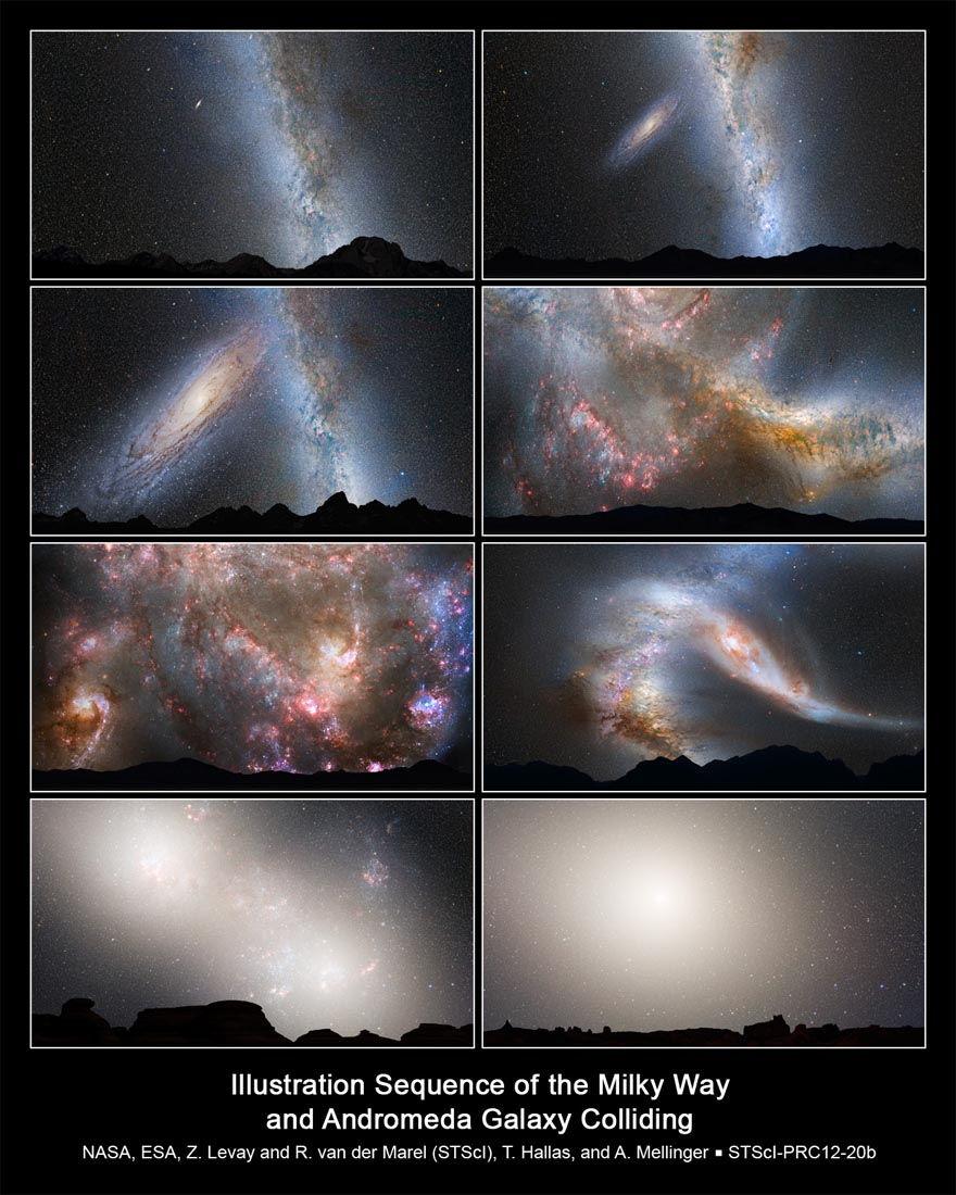 Simulación de la fusión de galaxias Andrómeda y Vía Láctea