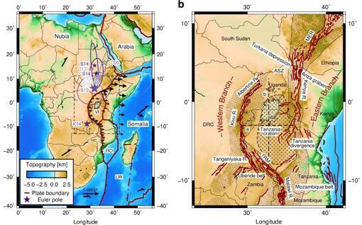 Lugar donde las placas tectónicas se unen en el este de África