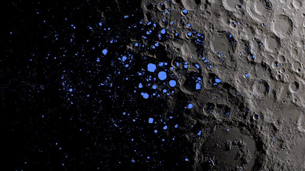 Las regiones en sombra permanente (azul) cubren alrededor del tres por ciento del polo sur de la luna