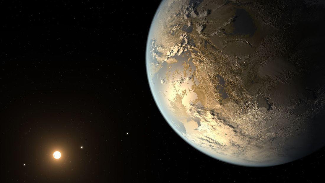 planeta del tamaño de la Tierra orbitando una estrella distante