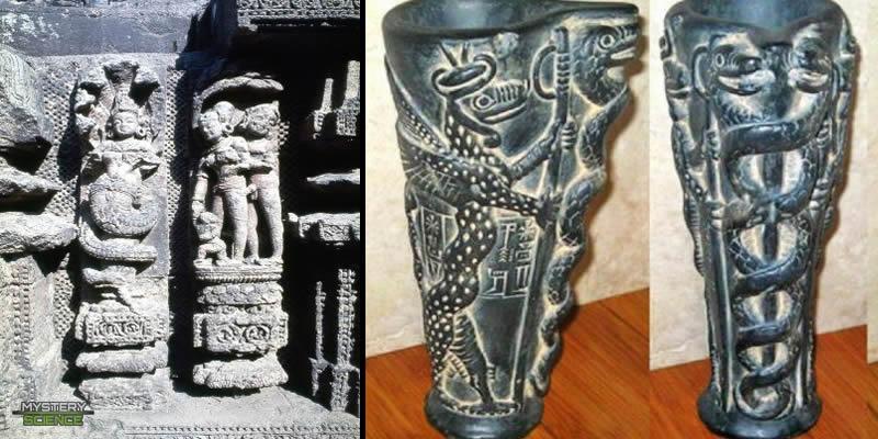 Estatua y jarrón con representaciones de Nagas