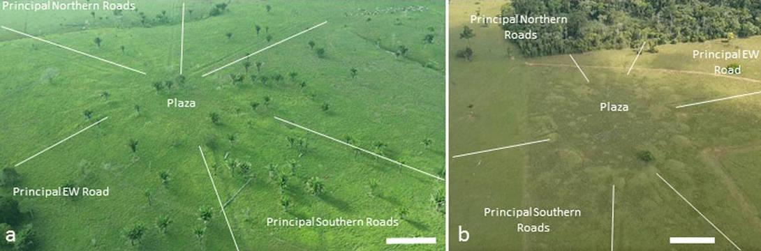 Ejemplos de aldeas de montículos circulares donde destacan las carreteras principales y el área de la plaza