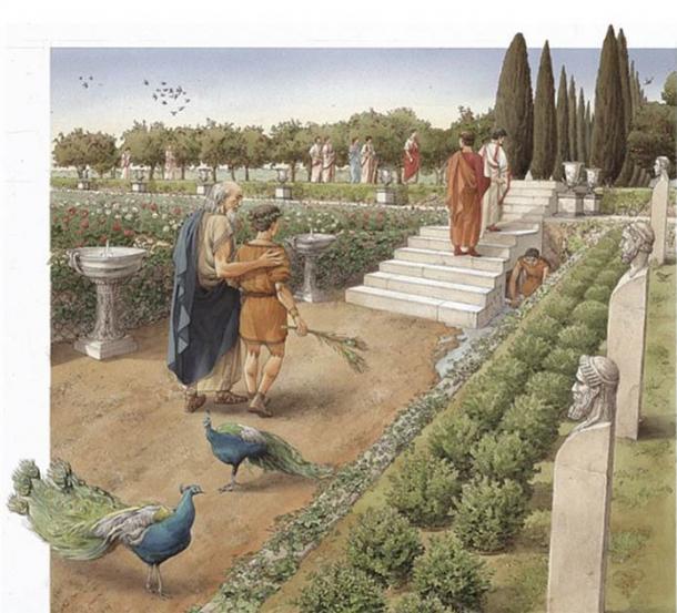 Ilustración artística de cómo podrían haber sido los jardines del palacio de Calígula