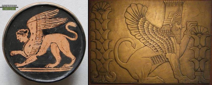 Esfinge Píxis ática griega y Esfinge alada persa