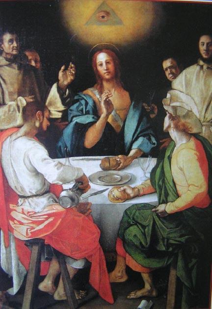 La Cena de Jacopo Pontormo en Emaús, donde se ve el Ojo de la Providencia sobre Cristo