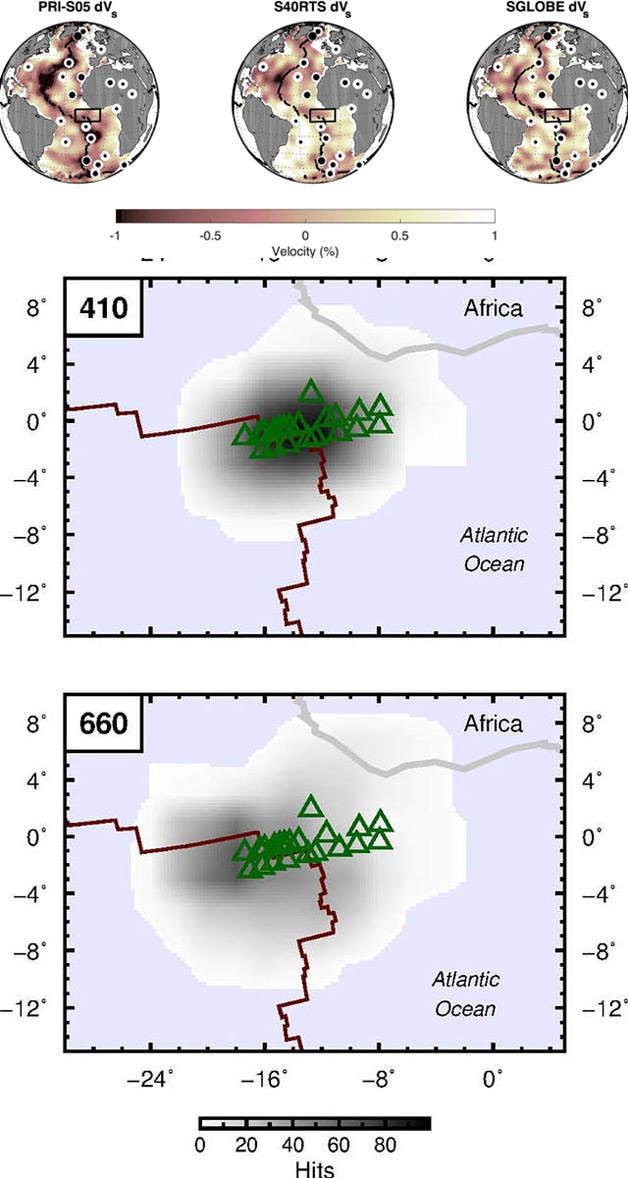 Mapas que muestran el número de formas de onda apiladas a 410 km y 660 km de profundidad