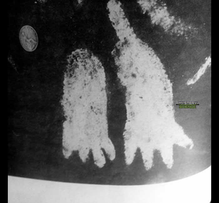 Podomorfos de cuatro dedos grabados sobre la superficie de la Piedra de Cochno.
