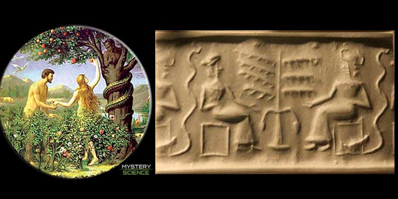 Adán y Eva y sello sumerio