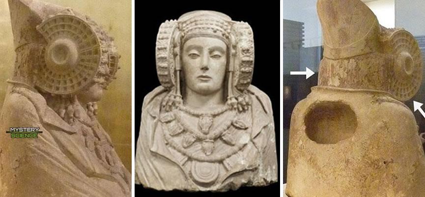 Vista frontal, lateral y posterior de la Dama de Elche