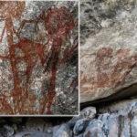 Descubren arte rupestre con desconcertantes figuras humanoides con cabezas gigantes