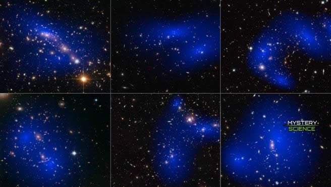 Interacción de galaxias y materia oscura, coloreada en azul