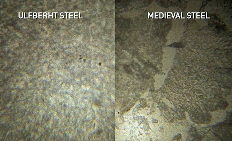 Diferentes niveles de pureza del metal. En estas dos imágenes se puede observar claramente la magnífica consistencia que presenta el acero Ulfberht