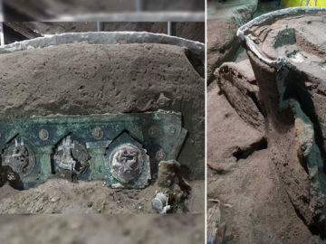 Descubren cerca de Pompeya una carroza ceremonial romana «casi intacta»