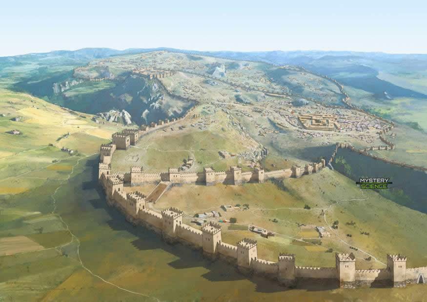 Recreación de la ciudad hitita de Hattusa