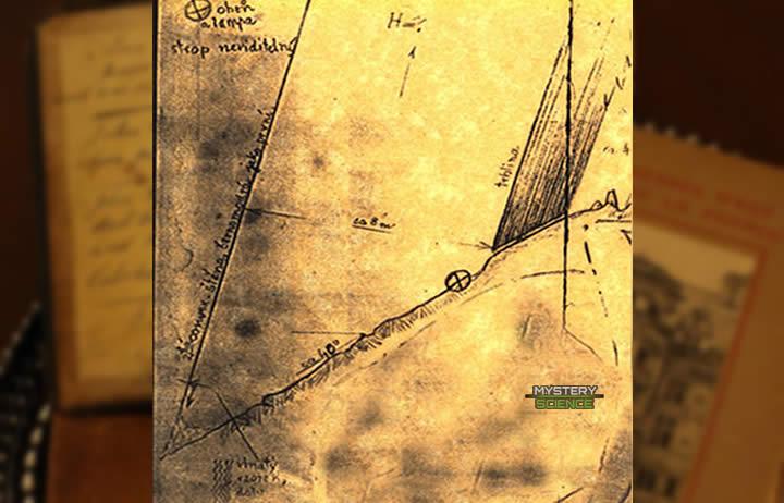 Sección transversal de la cueva dibujada en el diario