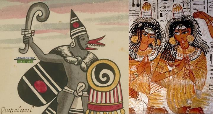 Sombreros cónicos aztecas y egipcios