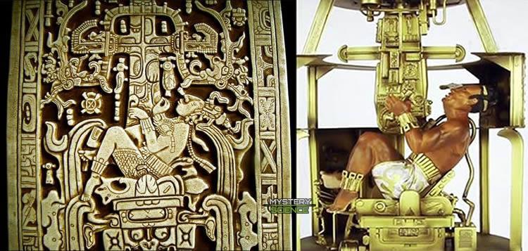 Reproducción de la tapa del sarcófago del gobernante maya de Palenque, el rey Pakal el Grande.