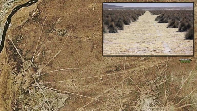 Red de miles de líneas casi perfectamente rectas grabadas en el suelo